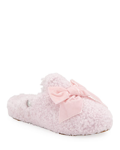 Addison Velvet-Bow Curly Sheepskin Slippers