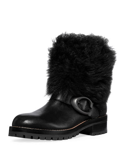 Leighton Shearling-Cuff Leather Buckle Boots