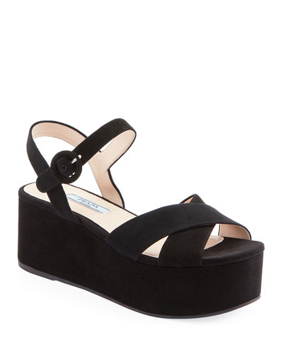 Suede Wedge Platform Sandals