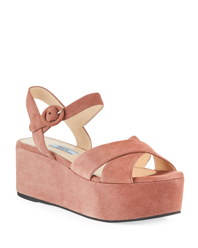 6e9028a2519 Quick Look. Prada · Suede Wedge Platform Sandals