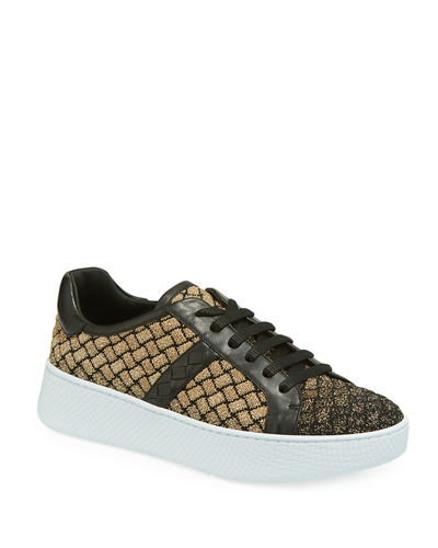 Metallic Knit and Leather Trainer Sneakers