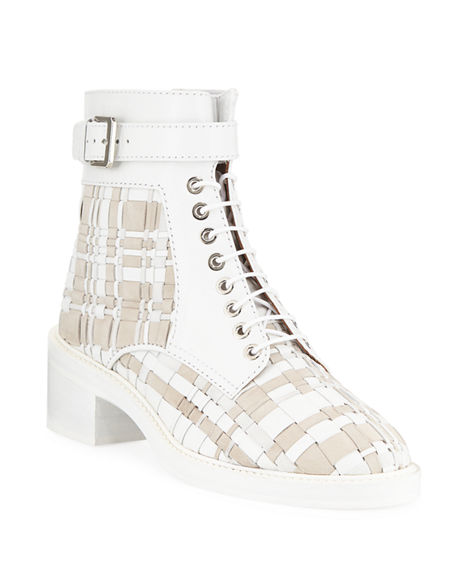 Laurence Dacade SOLENE WOVEN LEATHER COMBAT BOOTIES