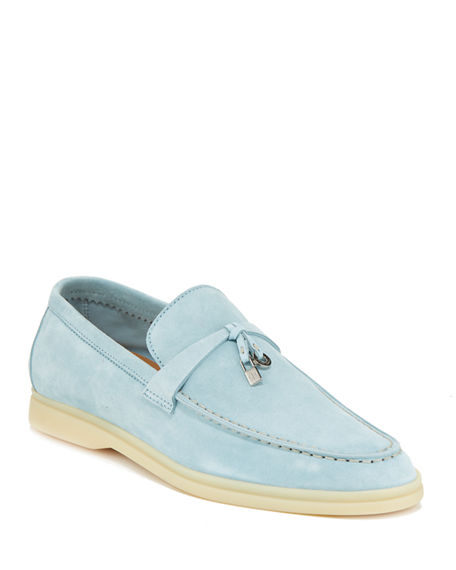 81d533953db Shop Loro Piana Summer Charms Walk Suede Loafers In Cerulean