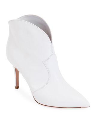 Leather Pointed Western Booties in White