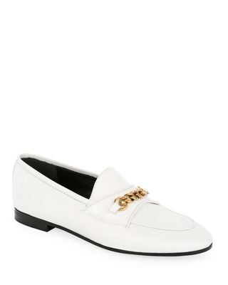 Leather Loafers With Chain Detail in White