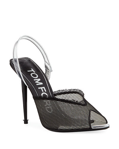 Mesh Open-Toe Halter Pumps