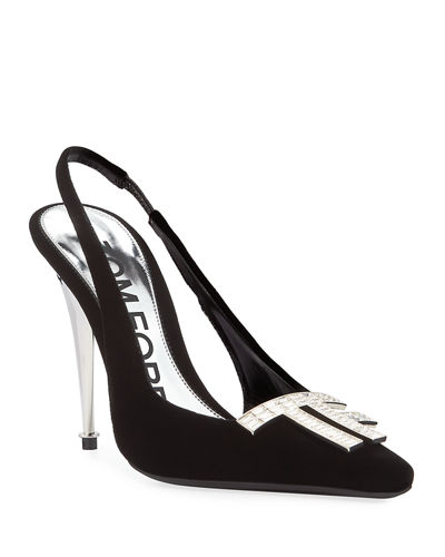 Crystal TF Velvet Slingback Pumps
