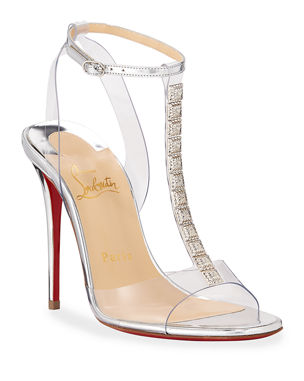 4bb45ab4429a7 Christian Louboutin Jamais Assez 100 See-Through Red Sole Sandals