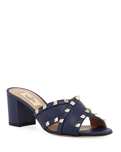 Rockstud Crisscross Leather Sandals