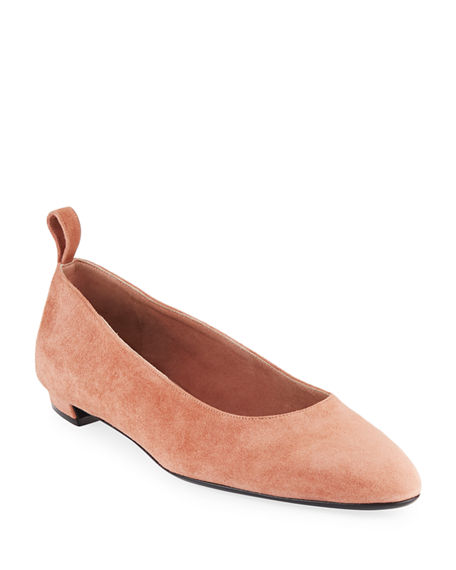 THE ROW Pointed Suede Ballet Flats
