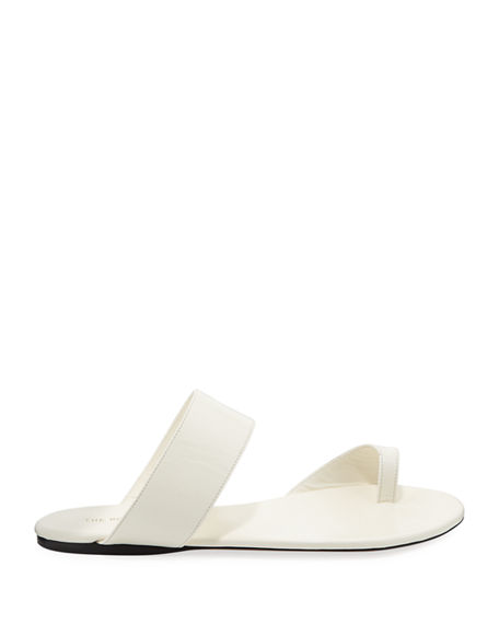 9faa38e5974b Shop The Row Infradito Flat Leather Toe-Strap Slide Sandals In Ivory