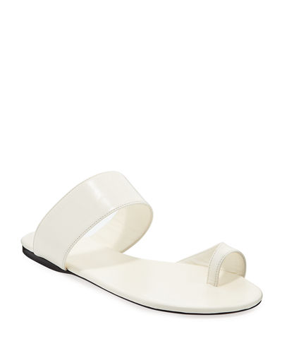 Infradito Flat Leather Toe-Strap Slide Sandals