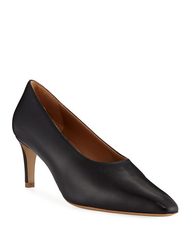 Pointed Leather Slip-On Pumps