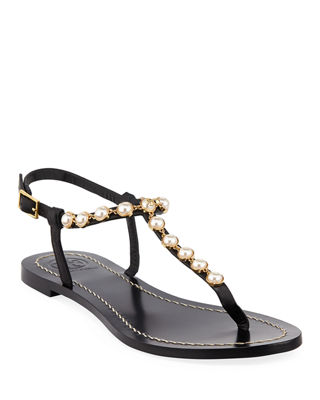 Emmy Pearly Beaded Flat Sandals, Black