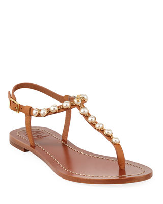 Emmy Pearly Beaded Flat Sandals, Tan