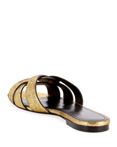 Saint Laurent Tribute Flat Crackled Metallic Slide Sandals