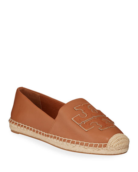 Image 1 of 3: Tory Burch Ines Flat Leather Logo Espadrilles