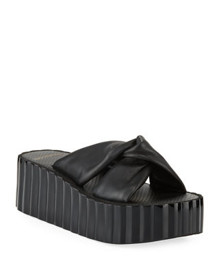 Knotted Scallop Wedge Slide Sandals, Perfect Black