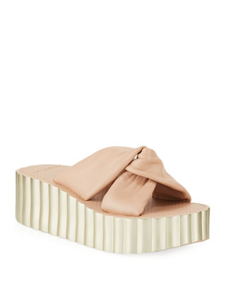 Knotted Scallop Wedge Slide Sandals, Goan Sand