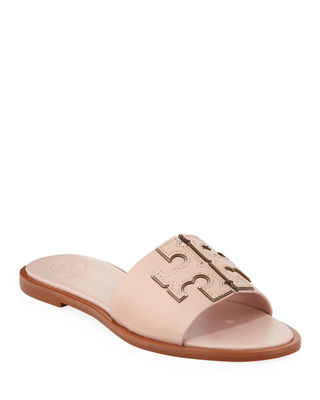 Sea Shell Calf Leather Ines Slides in Sea Shell Pink/Silver