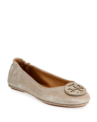 Minnie Travel Ballet Flats With Logo in Silver