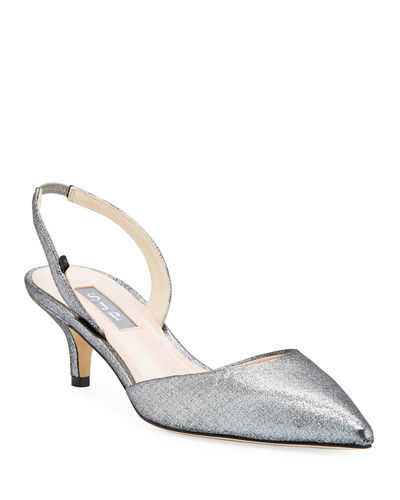 Bliss Metallic Kitten-Heel Slingback Pumps