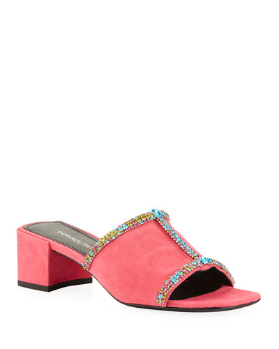 Bete Crystal Embellished Suede Mule Sandals