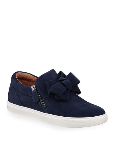 Lowe Ribbon-Front Suede Low-Top Sneakers