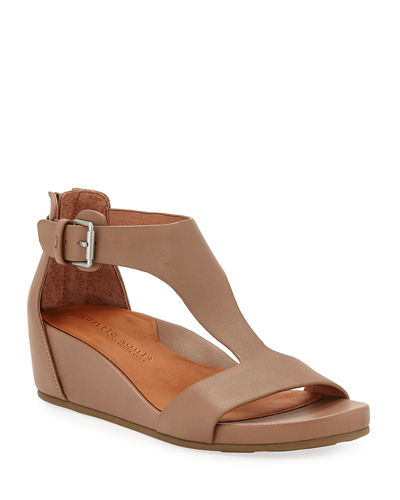 Gentle Souls Gisele Leather Demi-Wedge T-Strap Sandals