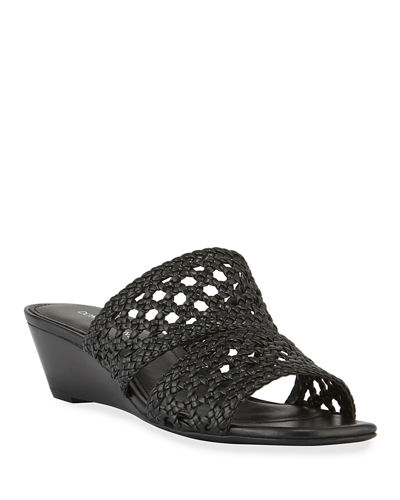 Albi Woven-Leather Demi-Wedge Slide Sandals