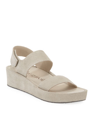 Lacey Suede Flatform Sandals in Bark