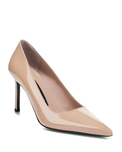 Nikole Lacquered Leather Point-Toe Pumps