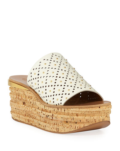 Camille Perforated Stud Slide Sandals