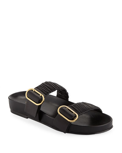 Shalene Buckled Leather Slide Sandals