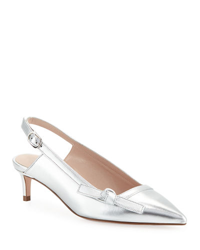 Hayworth Metallic Leather Slingback Pumps