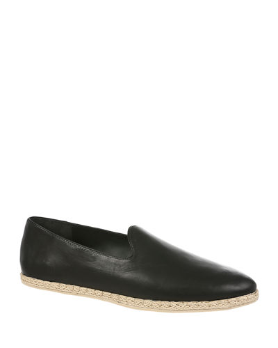 Malia Leather Flat Espadrille Loafers