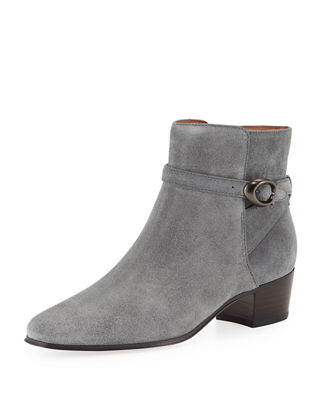 Coach Chrystie Suede Buckle Ankle Booties
