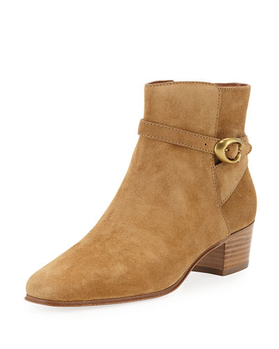 Chrystie Suede Buckle Ankle Booties
