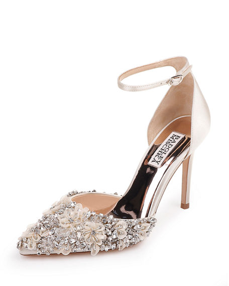 Badgley Mischka Fey Embellished Satin Ankle-Wrap Pumps