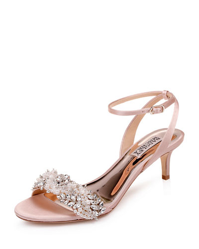 Fiona Embellished Satin Kitten-Heel Sandals