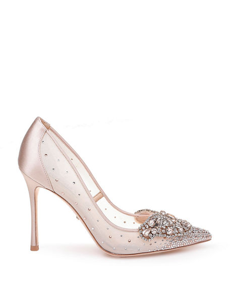 Image 2 of 4: Badgley Mischka Quintana Mesh Embellished Pumps