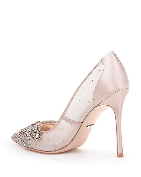 Image 4 of 4: Badgley Mischka Quintana Mesh Embellished Pumps
