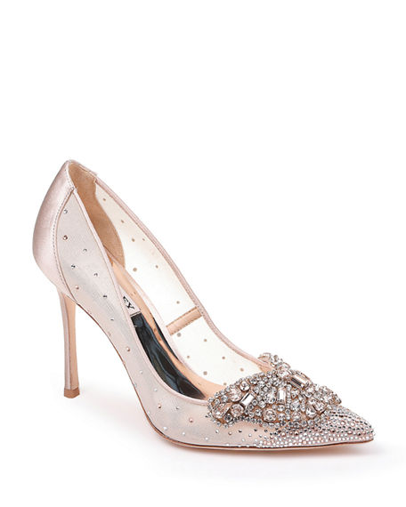 Image 1 of 4: Badgley Mischka Quintana Mesh Embellished Pumps