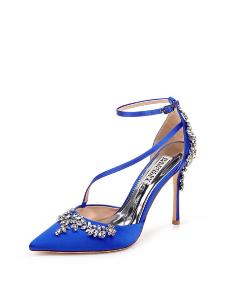 Badgley Mischka Faith Crystal-Embellished Satin Pumps