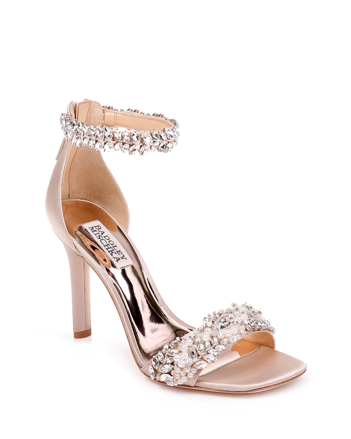 Fiorenza Embellished Satin Ankle-Wrap Sandals