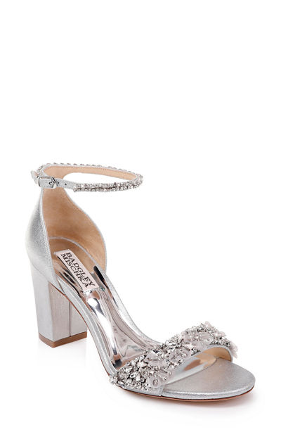 Finesse Metallic Suede Pumps w/ Crystals