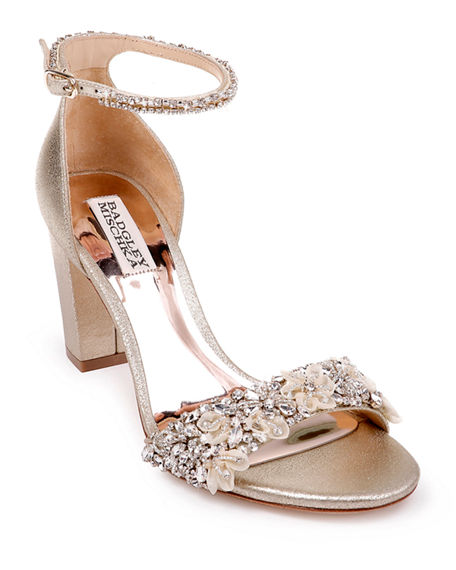Badgley Mischka Finesse Metallic Suede Pumps w/ Crystals