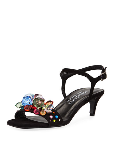 Delila Suede Jeweled Sandals