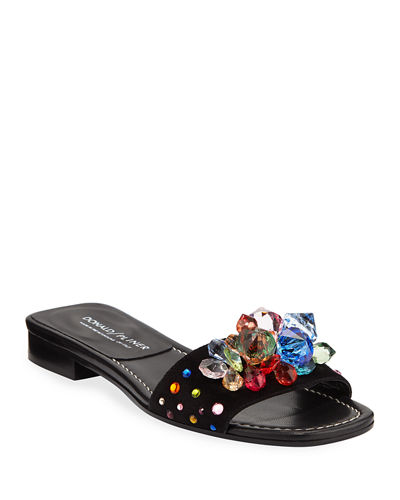 Tropa Jeweled Flat Suede Slide Sandals