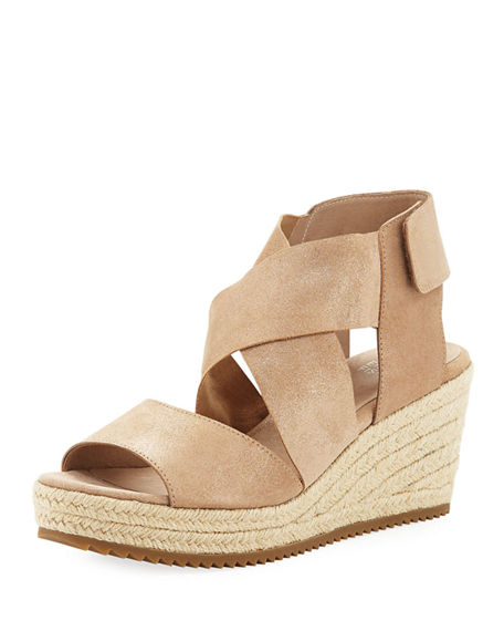 Image 1 of 4: Eileen Fisher Willow Starry Suede Wedge Espadrille Sandals